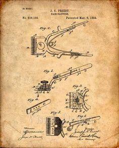 Barber's Hair Clipper Patent Print Patent Art Print