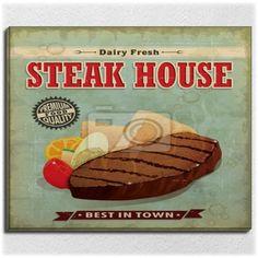 Vintage Steak House Canvas Wrap at http://www.visionbedding.com/vintage-steak-house-menu-poster-design-gallery-wrap-24x30-p-3096247.html