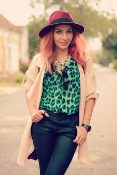 leopard and leather jeans zara