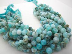 Blue Peruvian Opal Beads, Peruvian Opal Beads, Blue Opal Beads, Round, Aqua Gemstone, Wholesale Opal, SKU 4953 by loveofjewelry on Etsy https://www.etsy.com/listing/289007265/blue-peruvian-opal-beads-peruvian-opal
