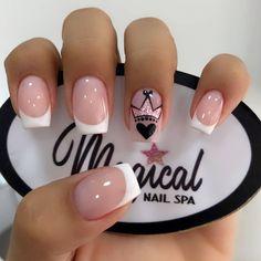 The most beautiful wedding nails, we help you choose - Page 44 of 60 - Inspiration Diary Nail Art Designs Videos, Nail Designs, Cute Nails, Pretty Nails, Pink Nails, My Nails, Diy Ongles, Short Square Nails, Short Nails