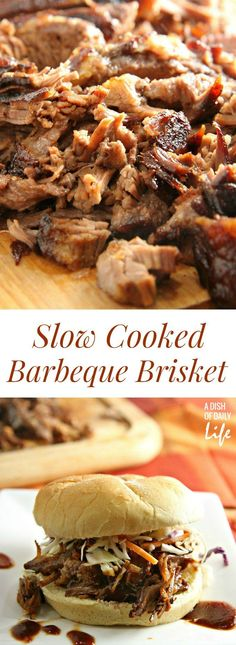 This mouthwatering Slow Cooked Barbeque Brisket recipe is a new family favorite! 10 minutes of prep time and just pop it in the oven to slow roast to perfection! Perfect easy weeknight meal or game day food!