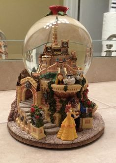Disney Beauty and the Beast Castle Snowglobe---Rare
