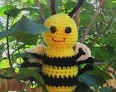 Baby BumbleBee Rattle Handmade Crochet Toy Yellow and black stripes  - Ready to be Shipped