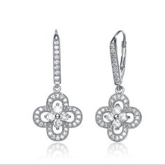 Collette Z Sterling Silver Cubic Zirconia Lace Design Round Drop Earrings | Overstock.com Shopping - The Best Deals on Cubic Zirconia Earrings