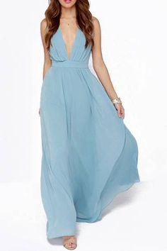 Vintage Plunging V Neckline Back Cut-Out Maxi Chiffon Dress