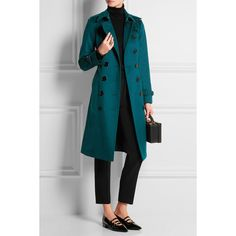 Burberry London Brushed-cashmere trench coat (10.190 BRL) ❤ liked on Polyvore featuring outerwear, coats, double breasted trench coat, teal trench coat, cashmere coat, double-breasted coat and teal coat