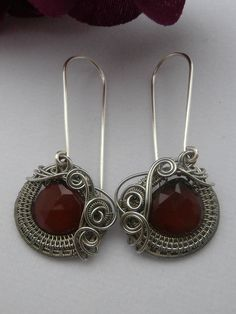 Wire Wrapped Earrings, Ruby Red Chalcedony Briolettes in Silver, Handmade Wire Weaved Jewelry