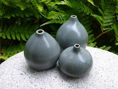 Small gray porcelain bud vases by ClayCentreGallery on Etsy