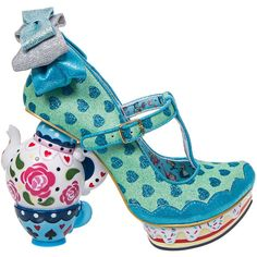 Irregular Choice My Cup Of Tea Heeled Shoes (Mint Green) (990 RON) ❤ liked on Polyvore featuring shoes, irregular choice, mint green shoes, irregular choice footwear, mint shoes and tea party shoes