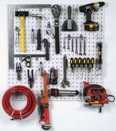 LocBoard Wall System Square Hole Pegboard and Locking Hook Organizer