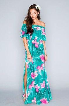 vestidos hawaianos para mujeres de playa