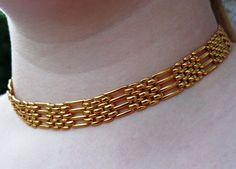 VTG Napier Basket Weave Link Necklace Designer Signed Choker PAT 4.774.743    #Napier #ChokerVTGDesignerBasketWeaveLinkDogCollar