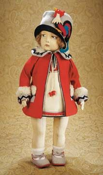 1930 Lenci girl with rooster hat- Theriault's Antique Doll Auctions