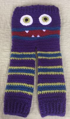 These trendy Monster Pants are available in Multiple Sizes: The pair shown I made for my 2 year old grand daughter. Sizing (non-cinched waist):