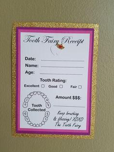 my tooth fairy receipt