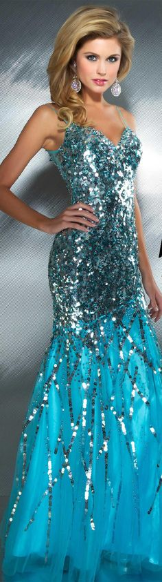 Mac Duggal couture dress sky / blue #long  #dress #glitter MAC DUGGAL PROM  STYLE 85094M