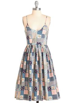 Patchworks Like a Charm Dress. Each time you don this retro-inspired frock - ta-da! #multi #modcloth
