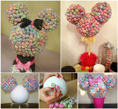 Are you looking for Inspiration for Mickey and Minnie Mouse Parties? We& got you covered with loads of ideas including cakes, invitations, decorations and more. You are going to love this cute collection of ideas. Mickey Mouse Baby Shower, Minnie Mouse 1st Birthday, Minnie Mouse Theme, Minnie Mouse Decorations, Mickey Minnie Centerpieces, Disney Centerpieces, Pool Decorations, Baby Mickey, Wedding Centerpieces