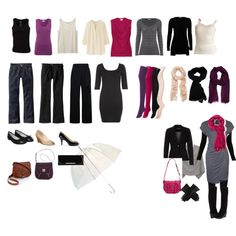 Travel Wardrobe (23 days & on the plane outfit).  This is a great visual on how to organize before you pack so you know what you have and what combinations you can make!