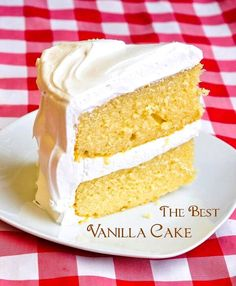 best vanilla cake close up slice with title text