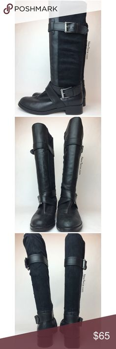 Cole Haan black leather Moto boots 7 Good condition with minimal signs of wear. Leather panel in the front and a polyester like back that was stretch to comfortably fit your calf. Pull on entry, some scuff at the toe and back heel. Cole Haan Shoes Combat & Moto Boots