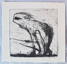 Chihuahua dog drypoint etching art black and by BeMyNightbird