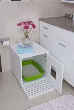 Cats Toys Ideas - Cat Litter Cupboard - Ideal toys for small cats Cat Cages, Ideal Toys, Cat Room, Pet Furniture, Woodworking Furniture, Furniture Plans, Litter Box, Diy Stuffed Animals, Cats And Kittens