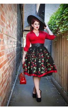 Pinup Couture - Jenny Gathered Full Skirt in Cherry Border Print - Plus Size | Pinup Girl Clothing