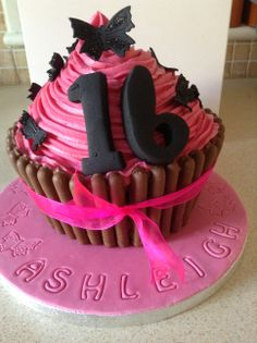 Fuchsia Pink 16th Giant Cupcake