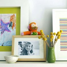 "Make kids' art look more sophisticated by framing lots of their drawings, along with photographs and pieces of graphic wrapping paper or fabric, and displaying them on a shelf. ""This is such a simple, inexpensive way to add color and personality to an office,"" says Loecke. - FamilyCircle.com"