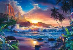 Brewster Wallcovering Ideal Decor Coastal Murals at Lowe's. With dream-like imagery and vivid colors, this beach scene wall mural is a true work of art. Tile Murals, Mural Wall Art, Paradis Tropical, Beach Mural, Dream Fantasy, 5d Diamond Painting, Cross Paintings, Sunset Paintings, Oil Paintings