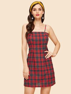 SheIn offers Plaid Print Slip Dress & more to fit your fashionable needs. Slip Dress Outfit, Dress Outfits, Fall Outfits, Fashion Dresses, Classy Trends, Look Vintage, Vintage Slip, Latest Dress, Costume Dress