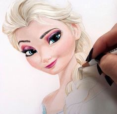 Frozen drawing disney art smile movies pretty drawing color amazing pencils skills