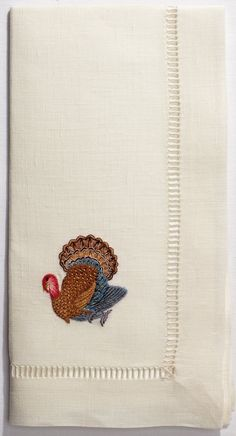 Ivory Linen Thanksgiving Dinner Napkins With Turkey Design, Set of Four