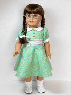 From 2012 - Hand-smocked spring dress modeled by Molly made from a Gennie Wren pattern