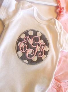 Fancy Circle Monogram Onesie - Choose your fabric, monogram style. and thread colors