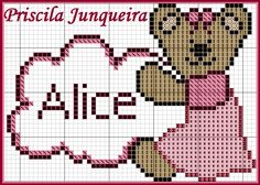 Stitch 2, Cross Stitch, Alice, Mickey Mouse, Diy And Crafts, Teddy Bear, Fictional Characters, 1, Patterns
