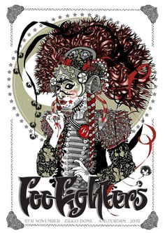 Foo Fighters Poster for Ziggo Dome, Amsterdam, 5 November 2015 Signed and numbered limited edition of 200 featuring shiny shiny silver ink. Illustration Photo, Illustrations, Tour Posters, Band Posters, Music Posters, Festival Posters, Concert Posters, Gig Poster, Foo Fighters Poster