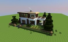 This is a forest/dark oak wood themed house with 4 rooms. There is 1 living room, 1 kitchen,1 master bed room, and a balcony/porch.