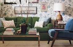 That  green couch! Get the Look: A Peter Dunham Living Room