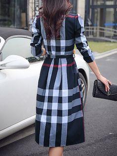 Shirt Collar Daily Casual Acetate Brushed Checkered Plaid Midi Dress  Visszafogott Divat cf54af92b2