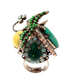 """Asclepias"" - Handmade bronze metal plated ring with Swarovski strasses and beads, by Art Wear Dimitriadis Greek Jewelry, Jewelry Rings, Jewellery, Summer Sale, Boho Fashion, Plating, Swarovski, Gemstone Rings, Bronze"