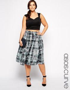 Plus Size ASOS CURVE Midi Skirt In Digital Check Print
