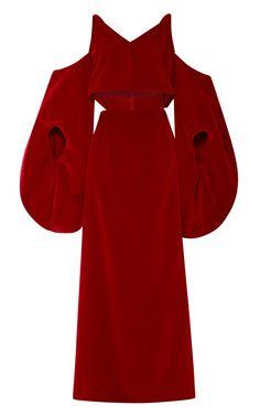 Slit-Front Red Velvet Dress by Rosie Assoulin - Moda Operandi
