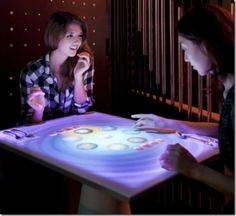 A touch screen table to keep the kids occupied while they're waiting on dinner! #homeofthefuture #futuristic #gadget