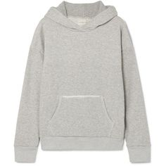 Simon Miller Boise frayed French cotton-terry hooded sweatshirt ($275) ❤ liked on Polyvore featuring tops, hoodies, grey, gray hoodies, hooded top, grey top, simon miller and grey hoodies