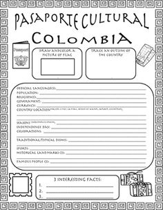 Pasaportes Culturales can be used as a weekly cultural research inside or outside of the classroom. This will give students the exposure to cultural aspects that aren't easily taught with grammar and vocabulary. The download includes an English version for beginners and a Spanish version for more advanced learners…