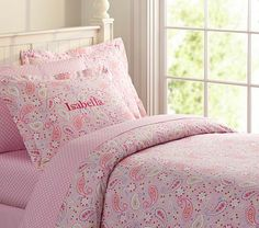 Paisley Duvet Cover #PotteryBarnKids, pink