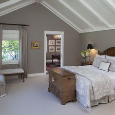 Traditional Bedroom Photos Master Bedroom Design, Pictures, Remodel, Decor and Ideas - page 8 Rooms With Slanted Ceilings, Slanted Ceiling Bedroom, Slanted Walls, Attic Bedroom Ideas Angled Ceilings, Vaulted Ceilings, Master Bedroom Design, Home Bedroom, Bedroom Decor, Gray Bedroom